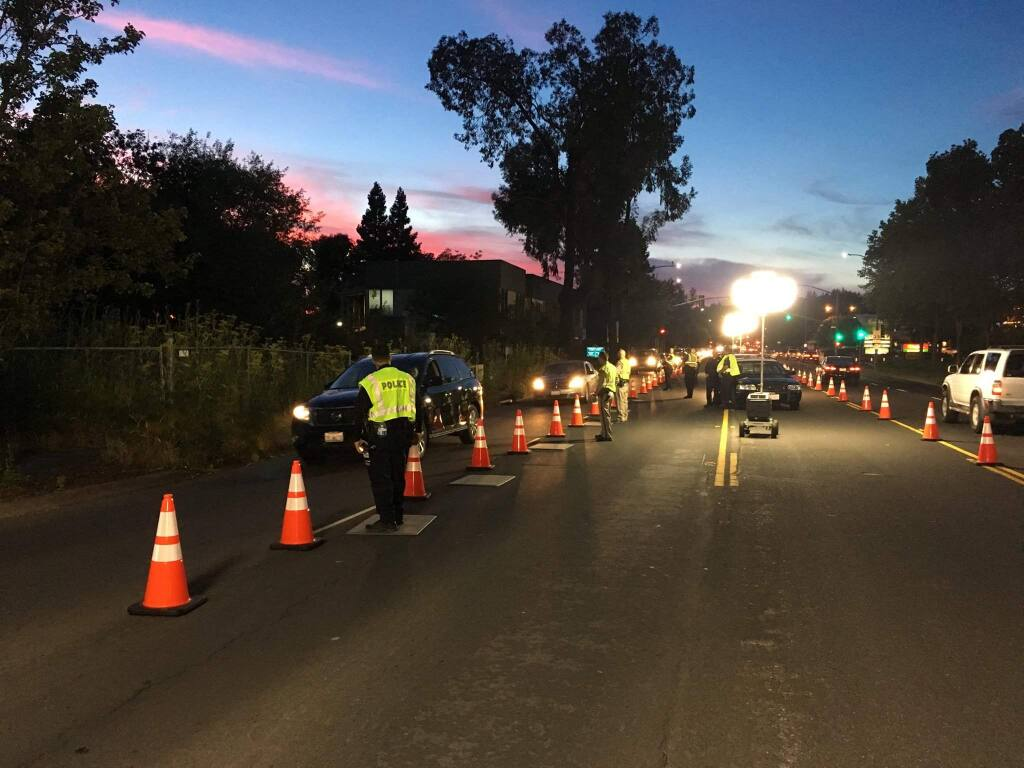 (File photo) The Santa Rosa Police Department held a DUI checkpoint on Farmers Lane, Friday, June 16, 2017. (SANTA ROSA POLICE DEPARTMENT/ FACEBOOK)