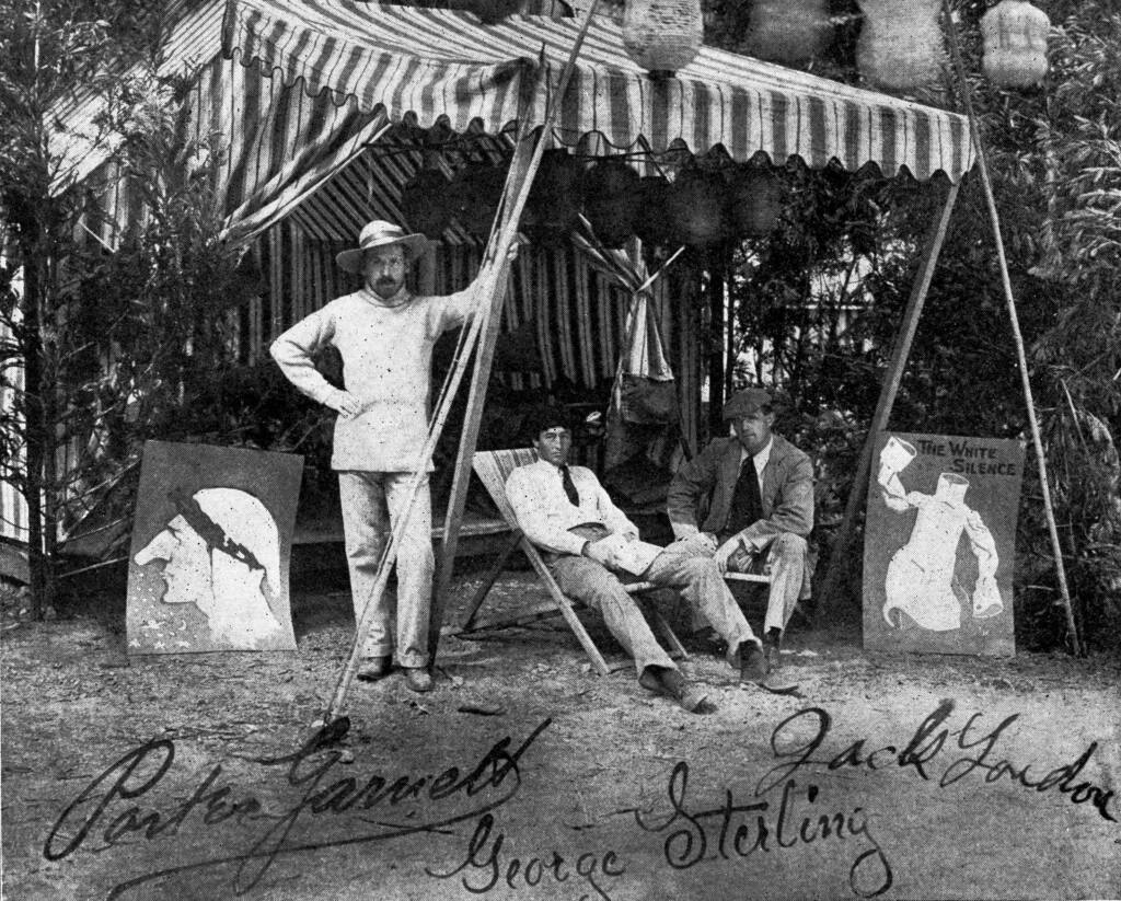 """Porter Garnett, George Sterling and novelist Jack London pose for a portrait at the Bohemian Grove in the early 1900s. The image was published along with Porter Garnett's story, """"Forest Festivals of Bohemia,"""" in The Pacific Monthly in September 1907. (Wikimedia Commons)"""