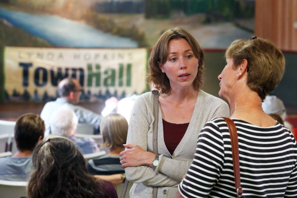 Sonoma County fifth district supervisor candidate Lynda Hopkins, left, talks with Pam Oakes of Sebastopol before holding a town hall meeting at Sebastopol Grange, in Sebastopol, California on Wednesday, September 14, 2016. (Alvin Jornada / The Press Democrat)