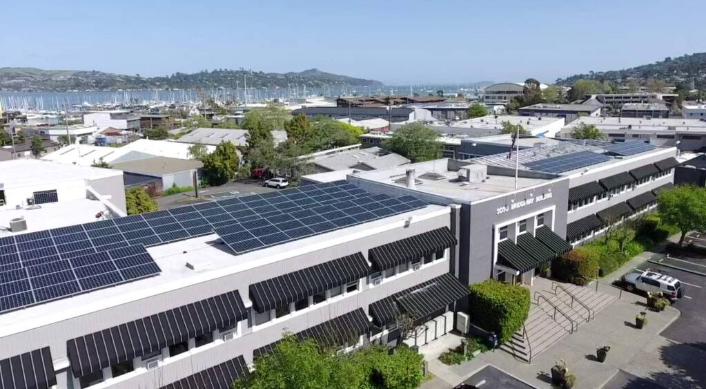 On its 32,000-square-foot 3030 Bridgeway Building in Sausalito, Seagate Properties installed a 76,000-kilowatt solar electricity array, paid for with C-PACE financing. (SEAGATE PROPERTIES) April 2018
