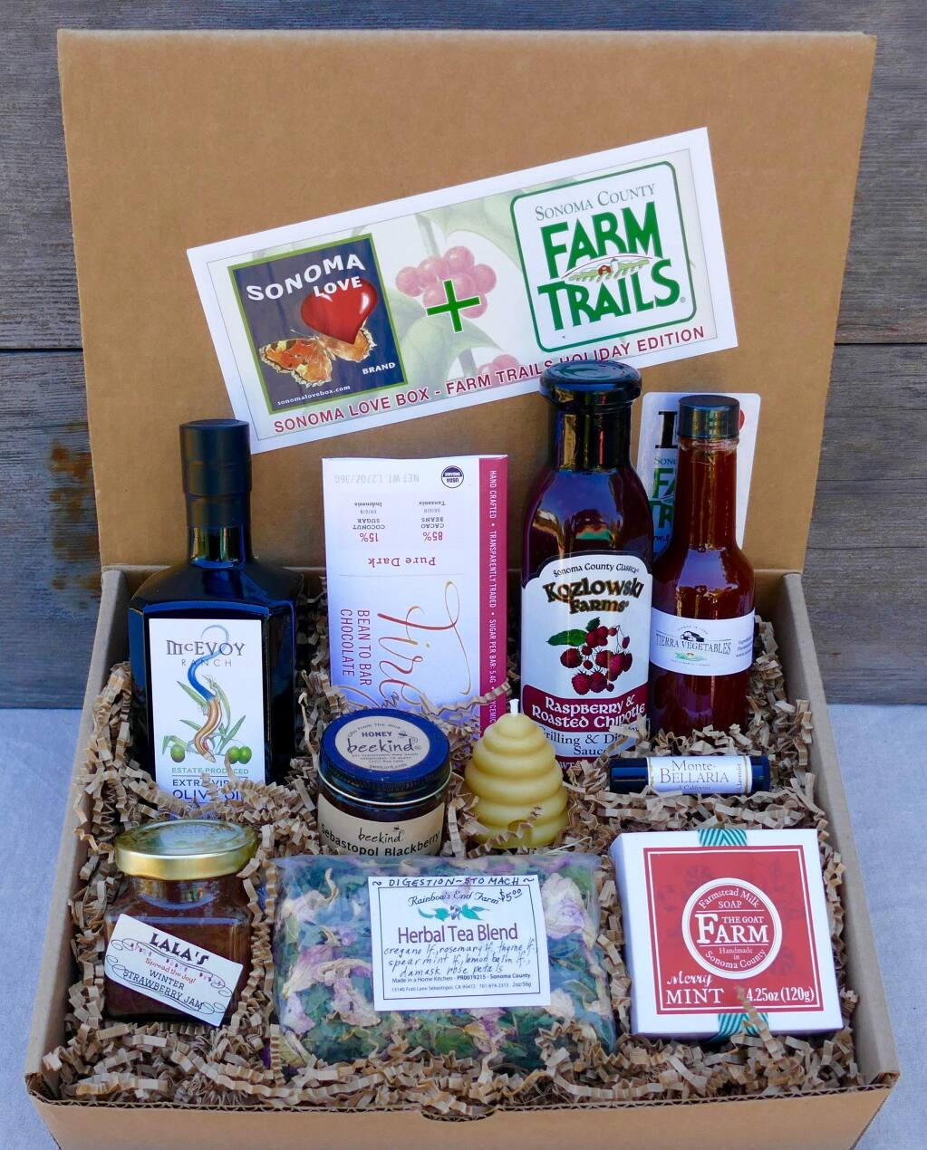 This is the Farm Trails Edition of the Sonoma Love Gift Box, which has produce from local farmers.