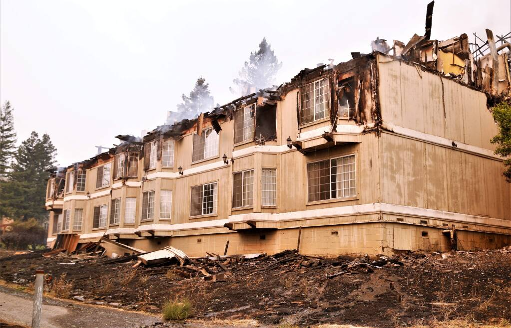 Fire Aftermath. The rooms of the Hilton Hotel continued to burn long into the afternoon in Santa Rosa October 9th, 2017. The aftermath of the fires that have spread through Sonoma, Napa and Mendocino counties have claimed 10 lives and over 1,500 structures Photos Will Bucquoy/ for the Press Democrat).