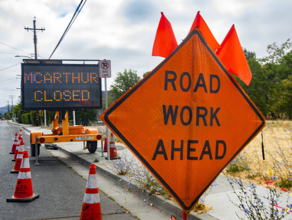 PG&E will be replacing gas lines on West MacArthur starting in early July. The road will be closed from Fifth Street West to Broadway from July 6 through Dec. 15. (Photo by Robbi Pengelly/IndexTribune)