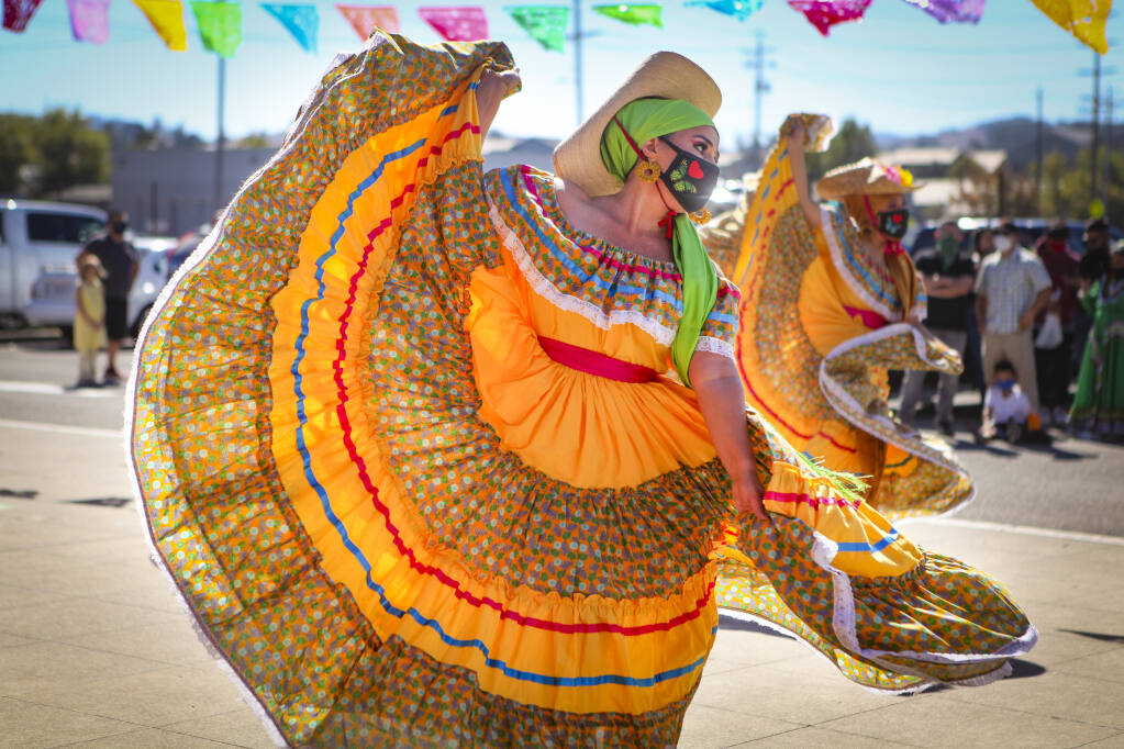 Dancers from Paquiyollotzin Ballet Folklorico will perform at the Día de los Muertos Opening Reception and Family Festival at the Museum of Sonoma County in Santa Rosa on Oct. 16. (CRISSY PASCUAL/ARGUS-COURIER STAFF)