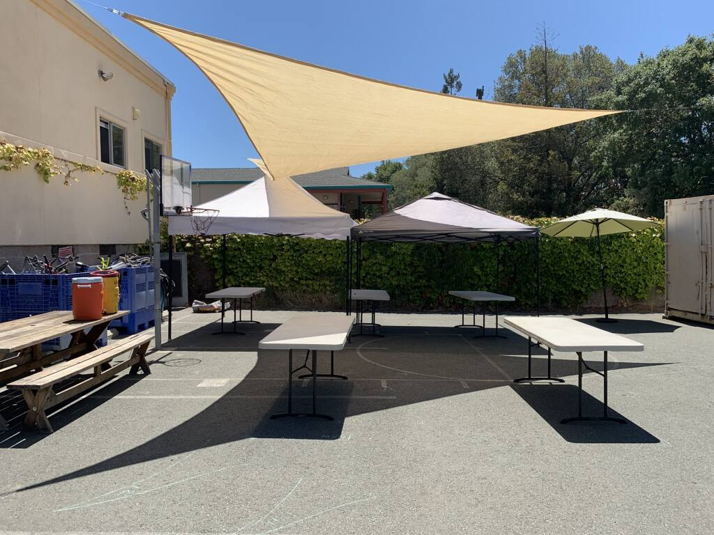 Some of the outdoor space set up for remote learning at the Teen Club at Teen Services Sonoma.