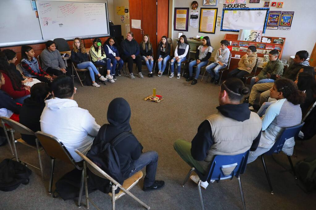 A restorative classroom circle meets at Lawrence Cook Middle School in Santa Rosa on Wednesday, November 28, 2018. (Christopher Chung/ The Press Democrat)