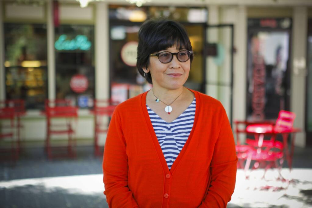 Petaluma, CA, USA. Monday, July 17, 2017._ Lina Hoshino (along with her husband, Angelo Sacerdote, not pictured) own The Petaluma Pie Company in downtown Petaluma. They are also documentary filmmakers. (CRISSY PASCUAL/ARGUS-COURIER STAFF)