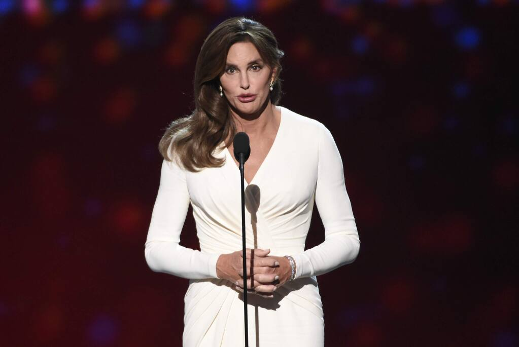 FILE - In this Wednesday, July 15, 2015 file photo, Caitlyn Jenner accepts the Arthur Ashe award for courage at the ESPY Awards at the Microsoft Theater in Los Angeles. Sheriff's investigators plan to recommend prosecutors file a vehicular manslaughter charge against Jenner for her role in a fatal car crash on the Pacific Coast Highway in Malibu last February. Los Angeles County Sheriff's Department spokeswoman Nicole Nishida says investigators found that Jenner was driving 'unsafe for the prevailing road conditions' because her SUV rear-ended a Lexus, pushing it into oncoming traffic. (Photo by Chris Pizzello/Invision/AP,File)