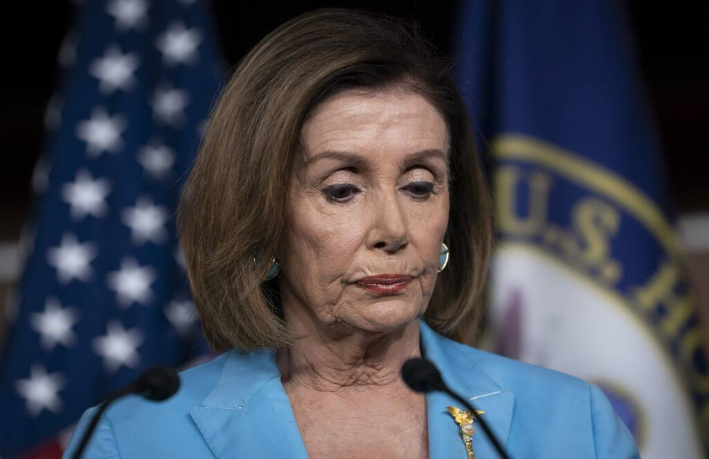 Speaker of the House Nancy Pelosi, D-Calif., pauses at a news conference as House Democrats move ahead in the impeachment inquiry of President Donald Trump, at the Capitol in Washington, Wednesday, Oct. 2, 2019. (AP Photo/J. Scott Applewhite)