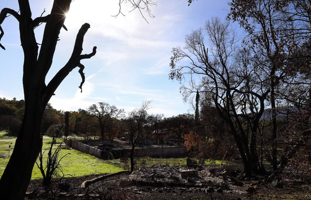 The remains of burned structures at the Audubon Canyon Ranch Bouverie Preserve on Tuesday, November 28, 2017. (Christopher Chung/ The Press Democrat)