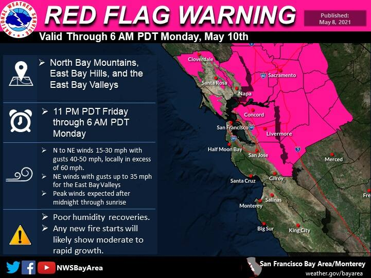 An image from the National Weather Service shows an expanded red flag warning set to expire Monday, May 10, 2021.