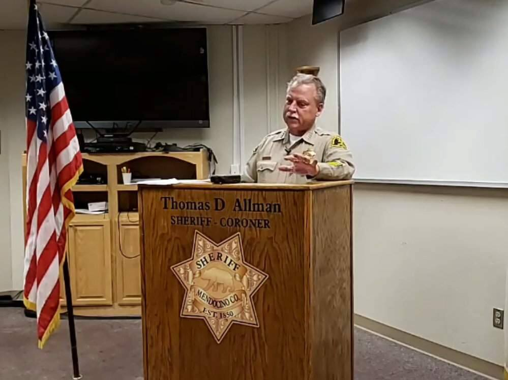 A screenshot from video showing Mendocino County Sheriff Thomas Allman discussing the officer-involved shooting in Redwood Valley on Thursday, Oct. 10, 2019. (MENDOCINO COUNTY SHERIFF'S OFFICE/ FACEBOOK)