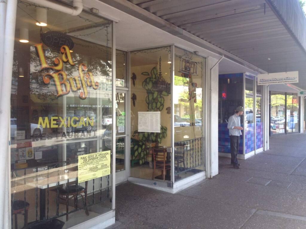 The exterior of La Bufa restaurant in downtown Santa Rosa on Monday, April 10, 2017. ( CHRIS SMITH / Press Democrat )