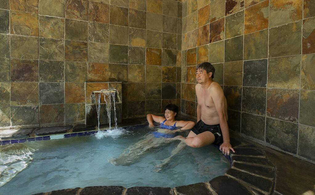 Guests at Orr Hot Springs can soak in the natural hot sulphur springs in private tubs or a large pool. Clothing is optional. (photo by John Burgess/The Press Democrat)