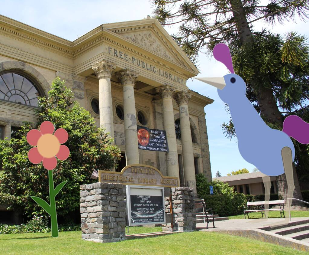 Wiggle PlanetA giant Peck Peck the Wiglet, an animated character created by Wiggle Planet, stands outside the Petaluma Historical Library & Museum.