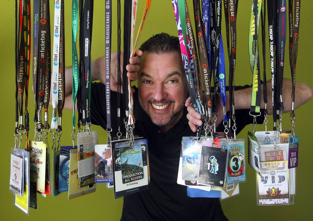 Steve Weisz collected dozens of backstage passes while running his Sebastopol business In Ticketing. Weisz sold his company to Vendini, and will head the Business Development for Live Music and open their new Petaluma office. (JOHN BURGESS / The Press Democrat)