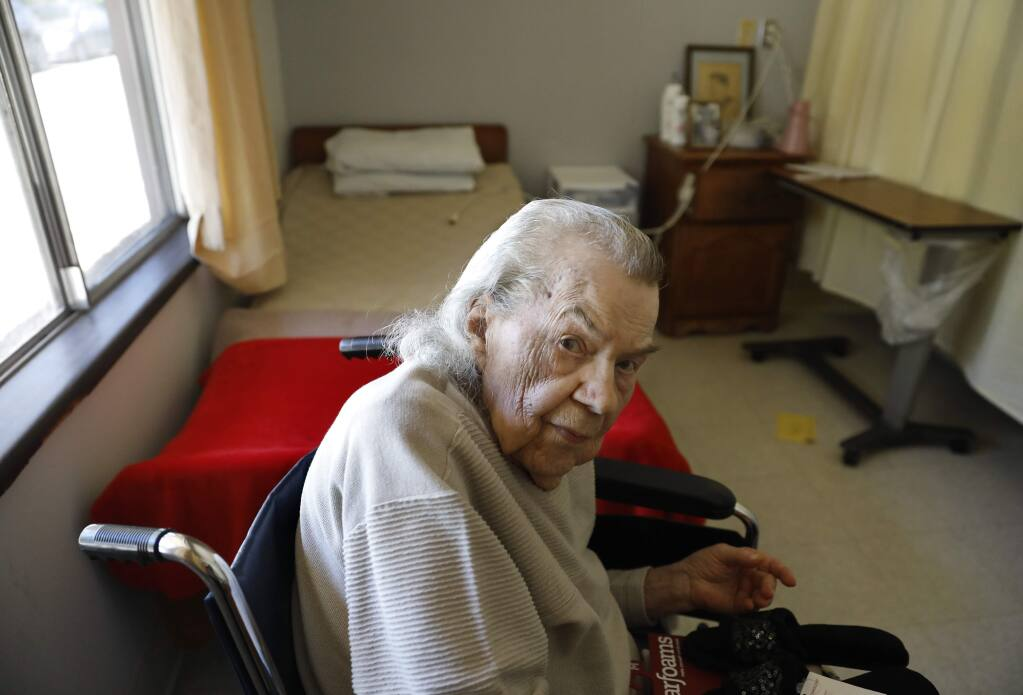 101-year-old Mabel Barnfield in her room at the Novato Healthcare Center in Novato, California on Wednesday, April 24, 2019. (BETH SCHLANKER/The Press Democrat)