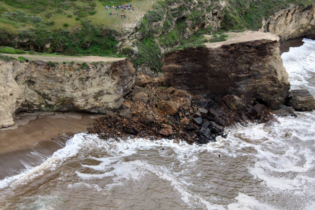 A woman's body was found at the base of a cliff on Monday, July 19, 2021 near Arch Rock in the Point Reyes National Seashore. (AP Photo/Point Reyes National Seashore)