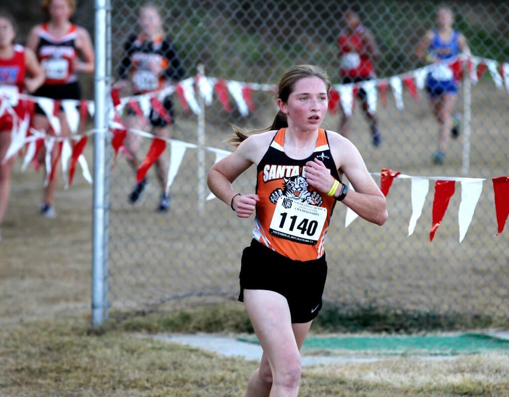 Jasmine Alapa of Santa Rosa High, runs in the Division 2 Girls race, at the NCS Cross Country Championships,, in Hayward, Calif., on Saturday, November 23, 2019. (Photo by Darryl Bush / For The Press Democrat)