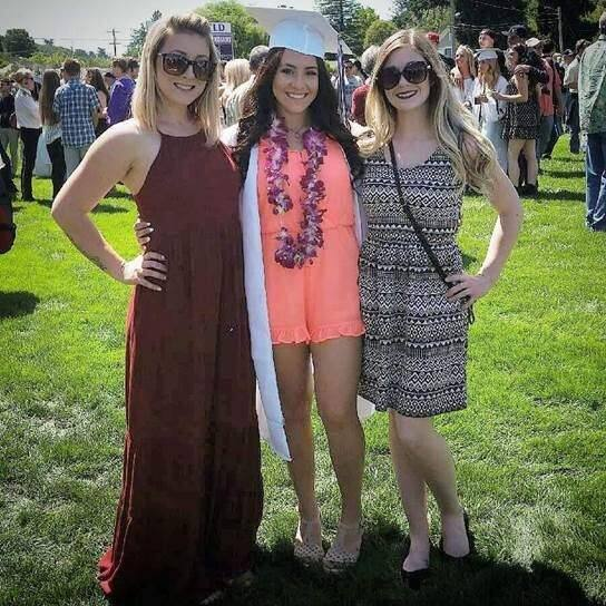 Gabbi Lemos (center) is shown with two friends at her graduation from Petaluma High School in June. (FAMILY PHOTO)