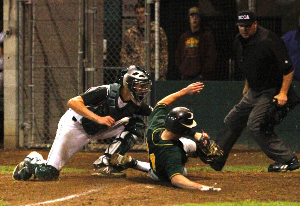 Bill Hoban/Index-TribuneSonoma catcher Colton Mertens puts the tag on a Casa Grande runner in Wednesday night's game at Arnold Field.