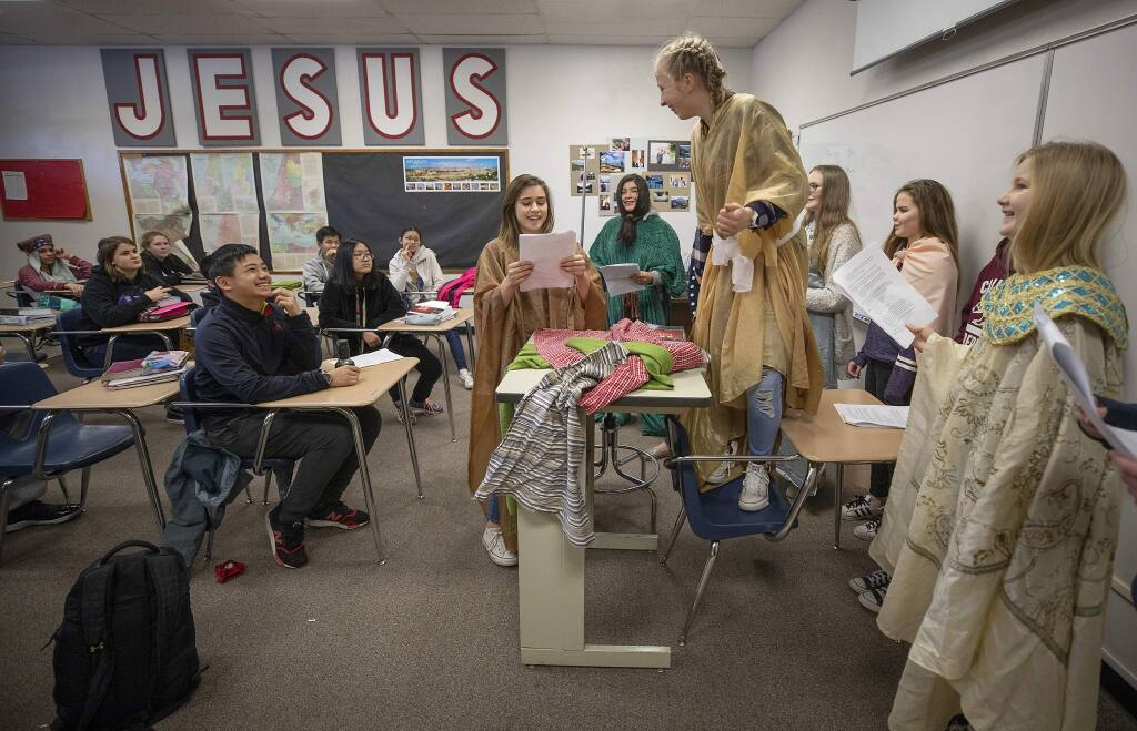 Seventh grade girls act out a scene from the bible in bible studies class at Rincon Valley Christian School on Wednesday. The school announced it will close at the end of the the school year. (photo by John Burgess/The Press Democrat)