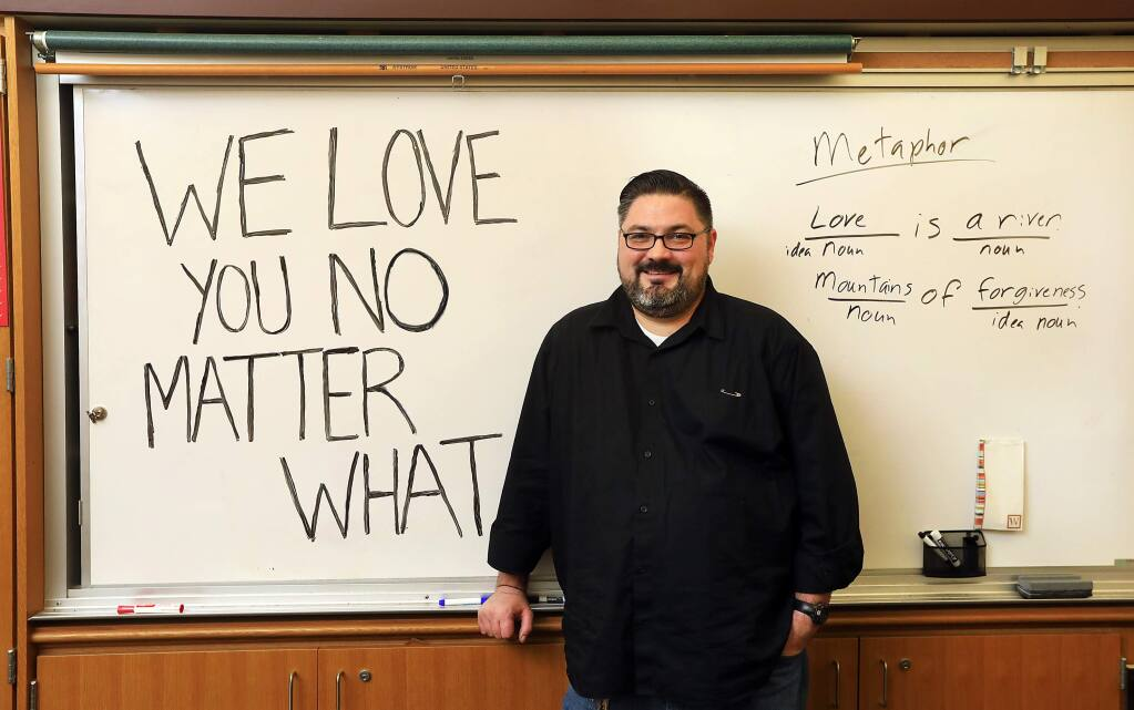 Santa Rosa High School English teacher Will Lyon read a poem during morning announcements declaring love and acceptance for all students following the election of Donald Trump in November. (John Burgess/The Press Democrat)