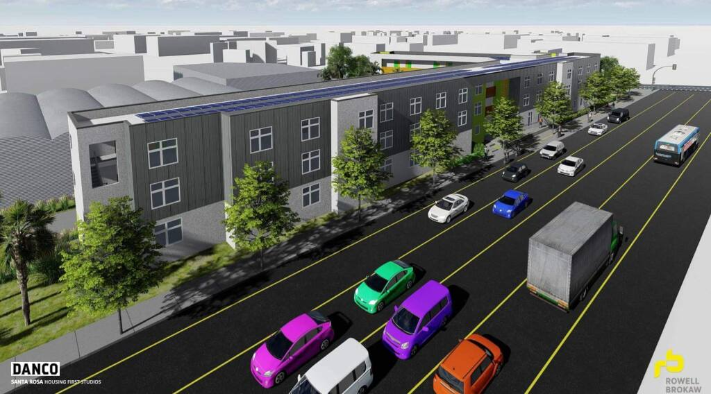 A 54-unit apartment complex, as seen in this rendering, will be constructed at the southwest corner of College and Cleveland avenues for people facing financial hardship and homelessness. (Rowell Brokaw)