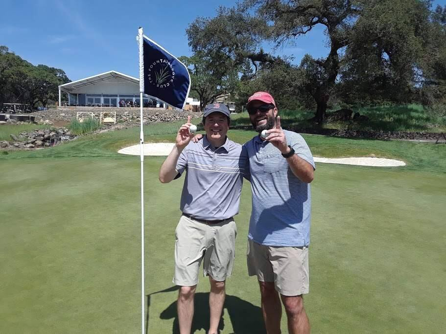 Sonoma County friends and longtime golfers Justin Lattanzio, left, and Mark Jenkins ccomplished perhaps the rarest feat of all in sports: back-to-back holes-in-one on the same hole. (Photo provided)