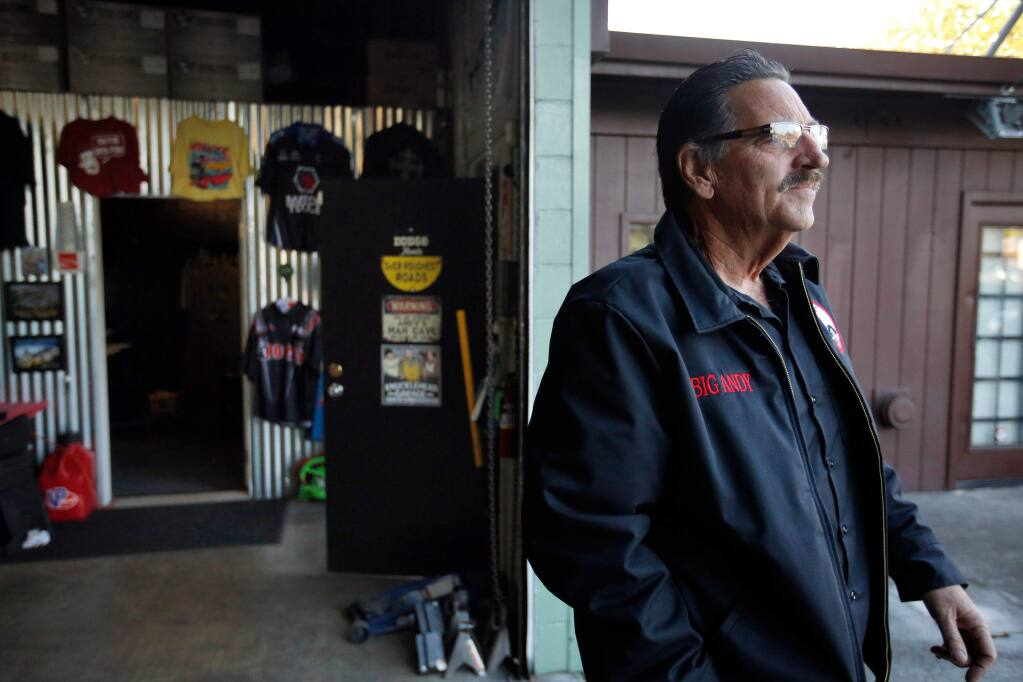 Andy Luttringer, whose Fountaingrove home was destroyed in the Tubbs Fire, spends his spare time at his shop in Santa Rosa, California on Friday, December 22, 2017. Luttringer has been living in the Flamingo Hotel while waiting for more permanent housing to become available for him and his two children. (Alvin Jornada / The Press Democrat)