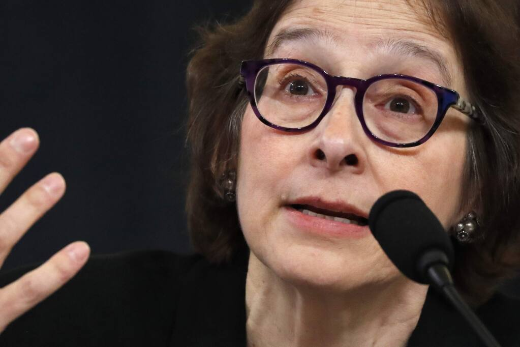 Constitutional law expert Stanford Law School professor Pamela Karlan testifies during a hearing before the House Judiciary Committee on the constitutional grounds for the impeachment of President Donald Trump, Wednesday, Dec. 4, 2019, on Capitol Hill in Washington. (AP Photo/Jacquelyn Martin)
