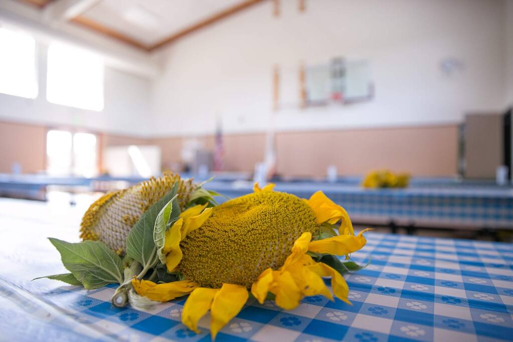 The tables are set and ready for guests at the 2015 Leghorn Valley Farmwatch BBQ and parade on Tuesday, August 4, 2015. (RACHEL SIMPSON/FOR THE ARGUS-COURIER)