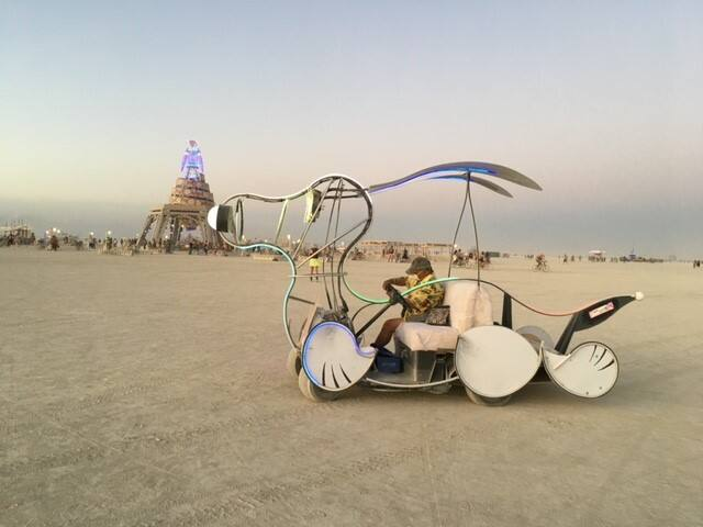 The Snoopy Art Car, driven by Paul Chausee, last visited the Burning Man festival in 2019. (Renee Donomon)