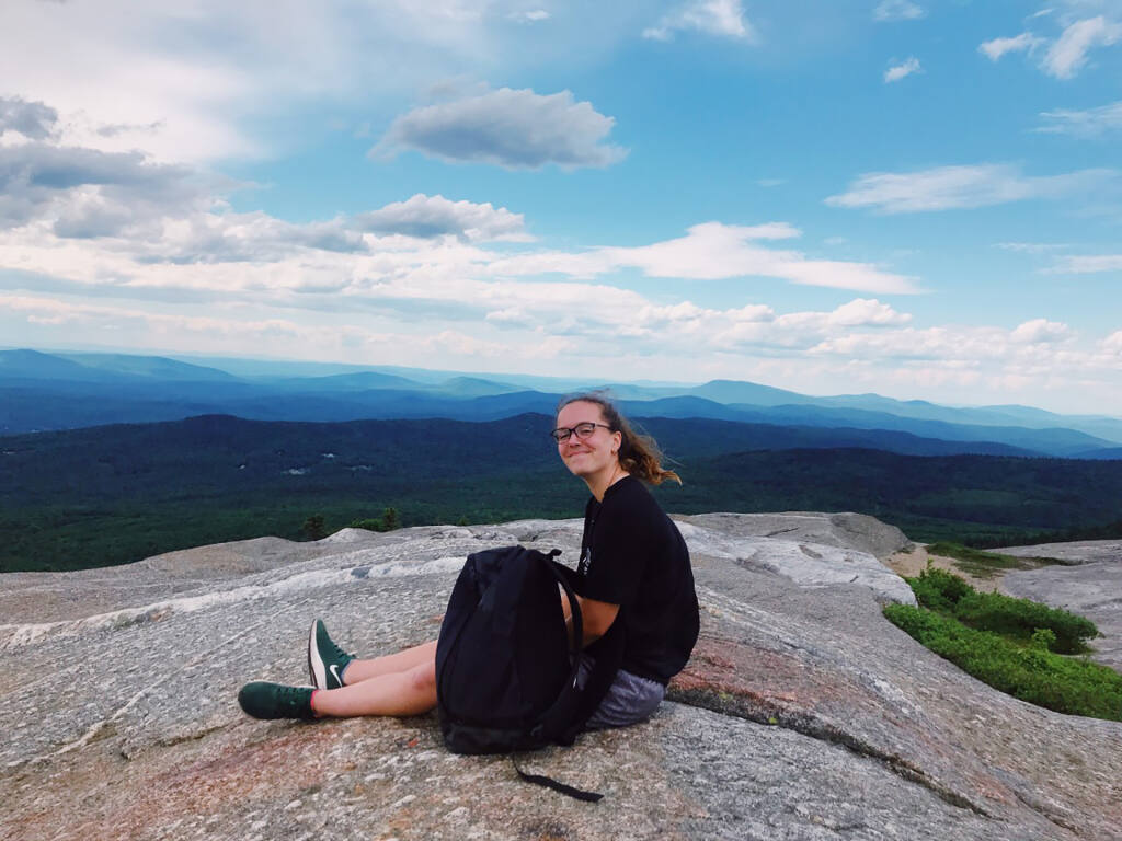 Dartmouth College sophomore Jesse Brownell, photographed in June 2020, spent more than a week in isolation after contracting the coronavirus. With little else to do, and feeling more pressure to succeed academically, Brownell buried herself in school work. MUST CREDIT: Emma Dereskewicz