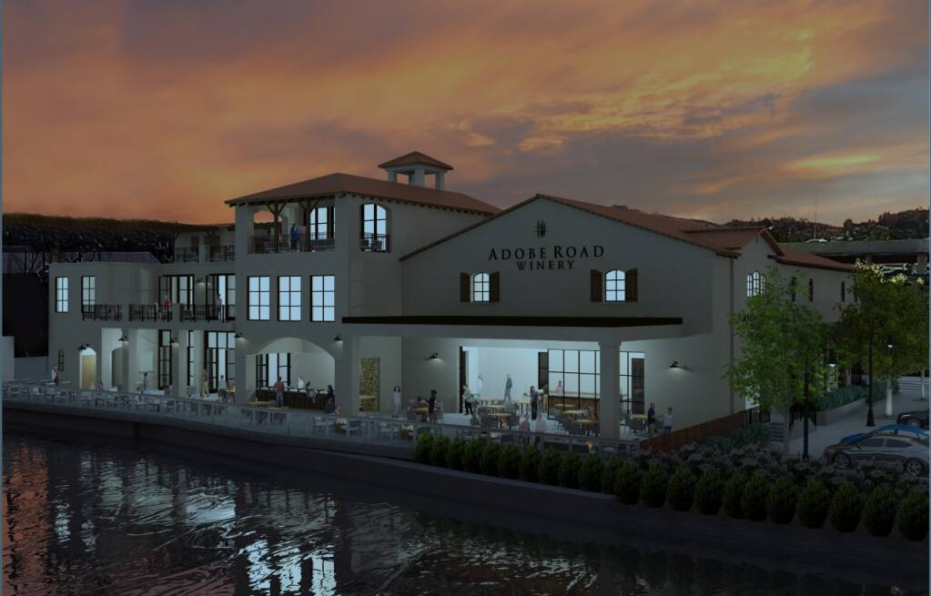 A rendering of the new plans depict the downtown winery complex's third-story terrace, and other small tweaks to its frontage. (COURTESY KEVIN BUCKLER)