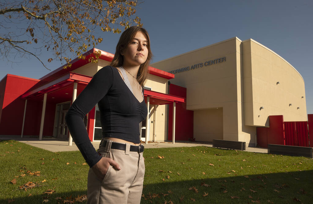 Jeanne Broome, the El Molino student representative on the West County Union High School Board, fears the proposed consolidation of Analy and El Molino high schools would mean the new Performing Arts Center would never be used. (John Burgess / The Press Democrat)