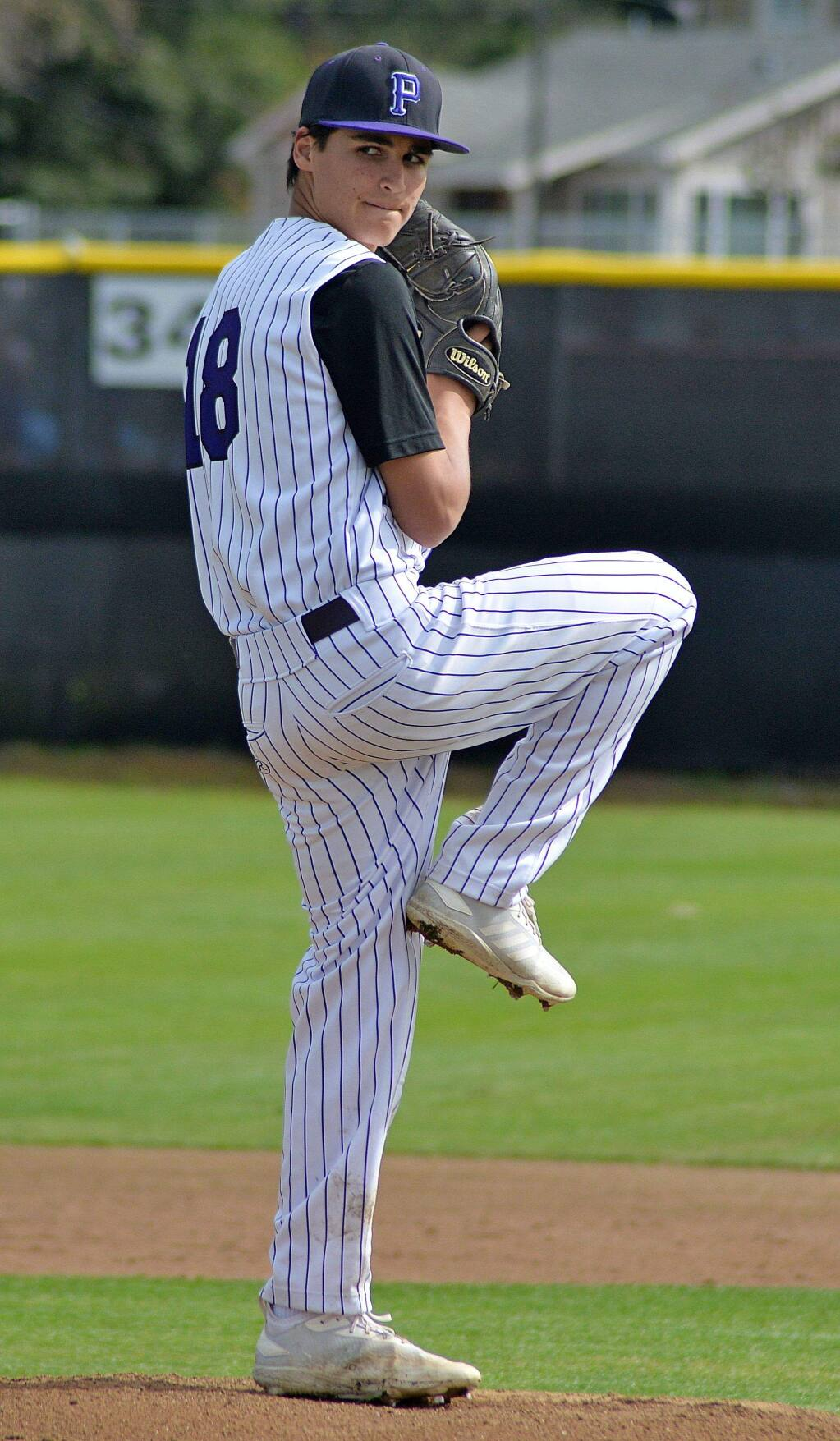 SUMNER FOWLER/FOR THE ARGUS-COURIERMark Wolbert pitched Petaluma to a big VVAL win over Sonoma Vallehy.