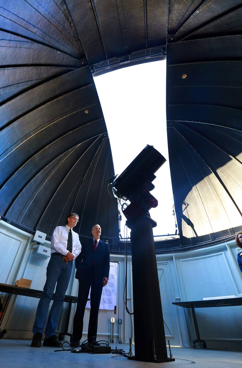 Space Science instructor Kurt Kruger, left, shows State Superintendent of Public Instruction Tom Torlakson the SPARQ Center Observatory at Piner High School on Friday, October 3, 2014.