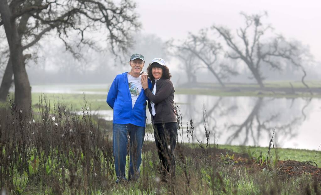 Brendan and Tish Brown, seen Wednesday Feb. 4 at the Laguna de Santa Rosa, are volunteer docents for the Laguna Foundation. (Kent Porter / Press Democrat) 2015
