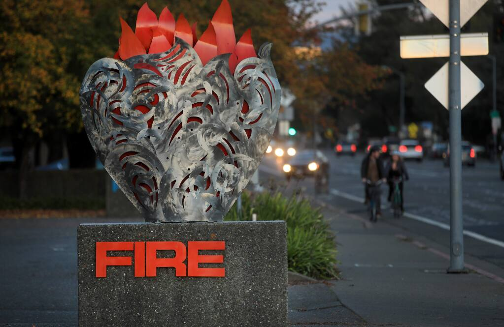 A sculpture was placed at the headquarters of the Santa Rosa Fire Department, Tuesday, Dec. 31, 2019, crafted by a local artist that lost their home to the 2017 Tubbs fire. (Kent Porter / The Press Democrat) 2019