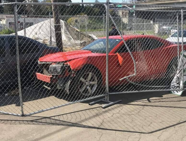 A driver suspected to be extremely drunk crashed into another car and a fence of Santa Rosa Avenue on Sunday, March 18, 2019. (SANTA ROSA POLICE DEPARTMENT)