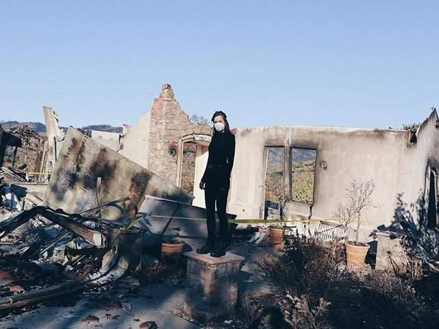 Siena Canales shown at the site of her family's burned home in Santa Rosa in an Instagram post from October of 2017. (@SIENACANALES)