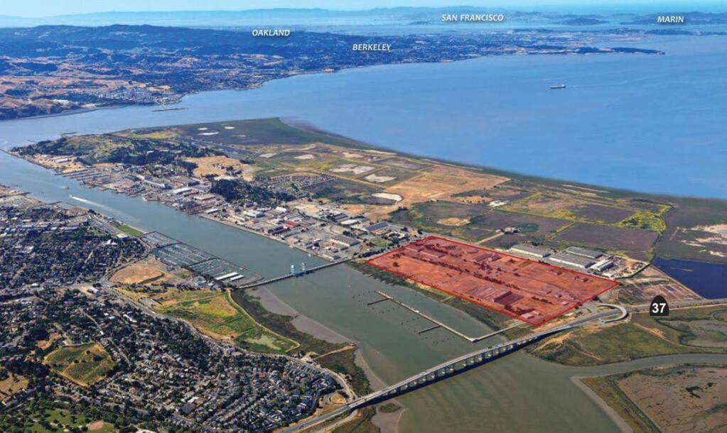The 157-acre north Mare Island area of Vallejo, part of the former Navy shipyard, is seen highlighted on this aerial view from the northeast. (City of Vallejo)