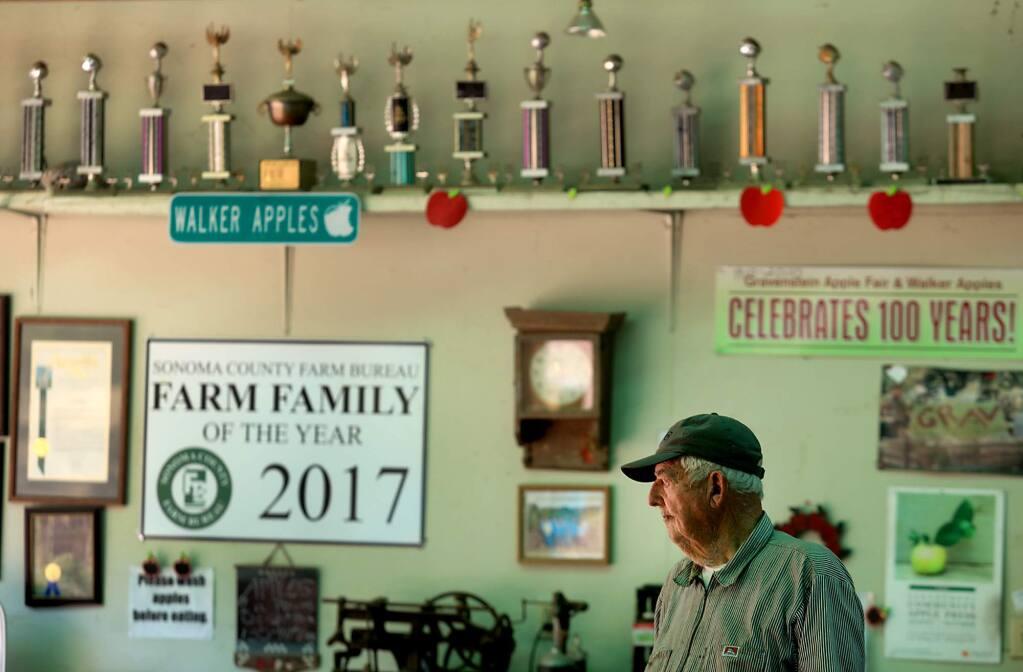 Lee Walker of Walker Apples in Graton on Wednesday, Aug. 2, 2017 in Graton. (KENT PORTER/ PD)
