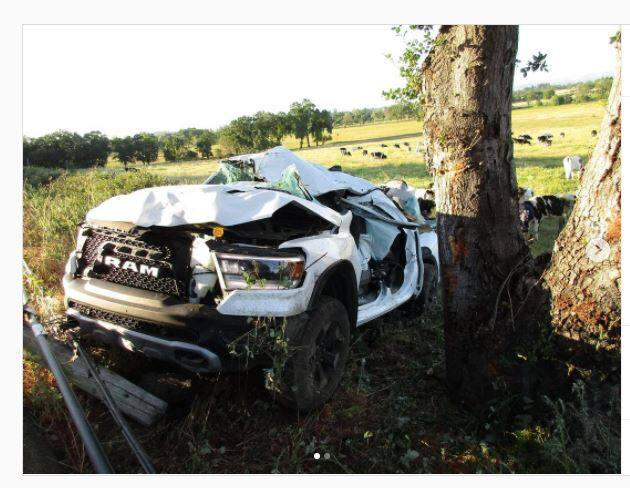 A Ram Rebel pickup truck driven by a suspected drunken driver Wednesday crashed into a tree along High School Road near Sebastopol after striking two bicyclists, the CHP said. (CHP)