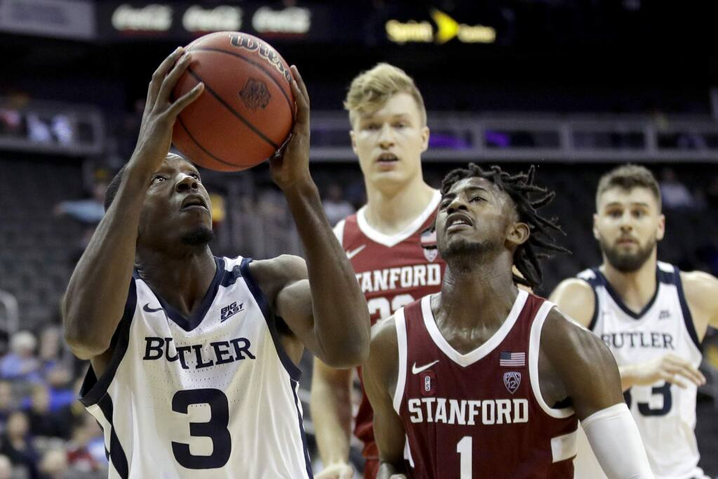 Butler guard Kamar Baldwin (3) puts up a shot during the second half against Stanford, Tuesday, Nov. 26, 2019, in Kansas City, Mo. Butler won 68-67. (AP Photo/Charlie Riedel)