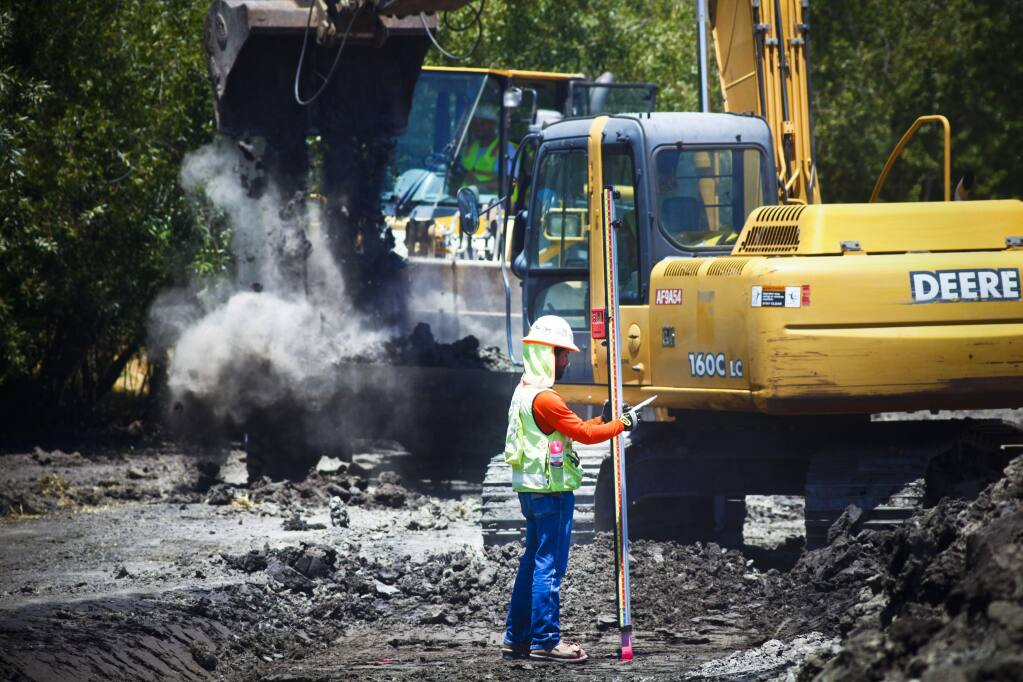 Petaluma, CA, USA. Monday, June 19, 2017._ A project to increase the capacity of Capri Creek and ease flooding issues there is underway. (CRISSY PASCUAL/ARGUS-COURIER STAFF)