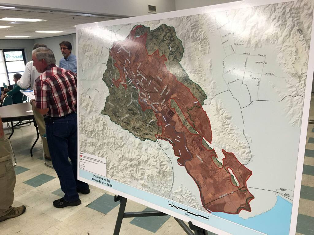 A map depicts the Petaluma Valley groundwater basin, an area that is subject to a new state regulations of groundwater, during a meeting on Aug. 17, 2016. (ERIC GNECKOW/ARGUS-COURIER STAFF)