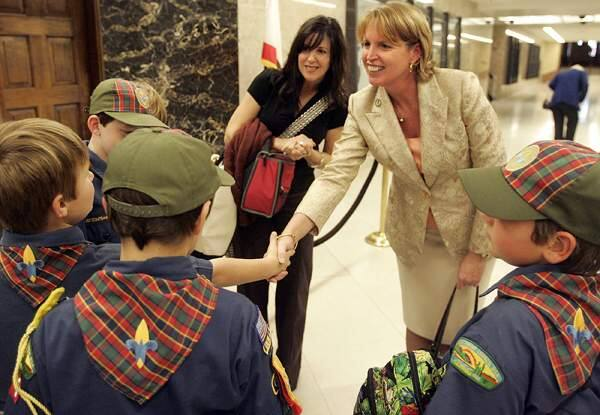 (File photo) Assemblywoman Noreen Evans meets with a group of Cub Scouts from Santa Rosa in a hallway of the State Capitol building in Sacramento on Monday, December 1, 2008.