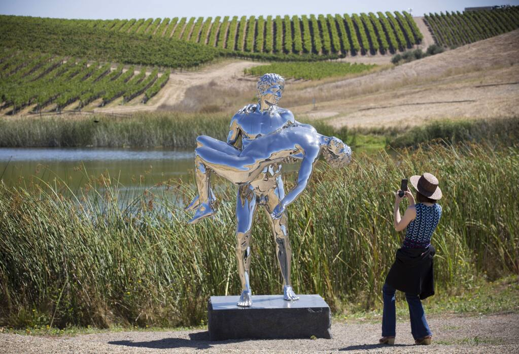 'The Care of Oneself' by Elmgreen and Dragset. Donum winery, on Ramal Road, is a showcase for an international contemporary sculpture collection, which is on display throughout its 200-acre Sonoma estate. (Photo by Robbi Pengelly/Index-Tribune)